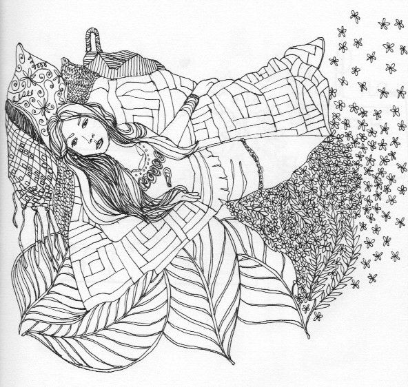 pen and ink drawing of woman in quilt nature bed leaves