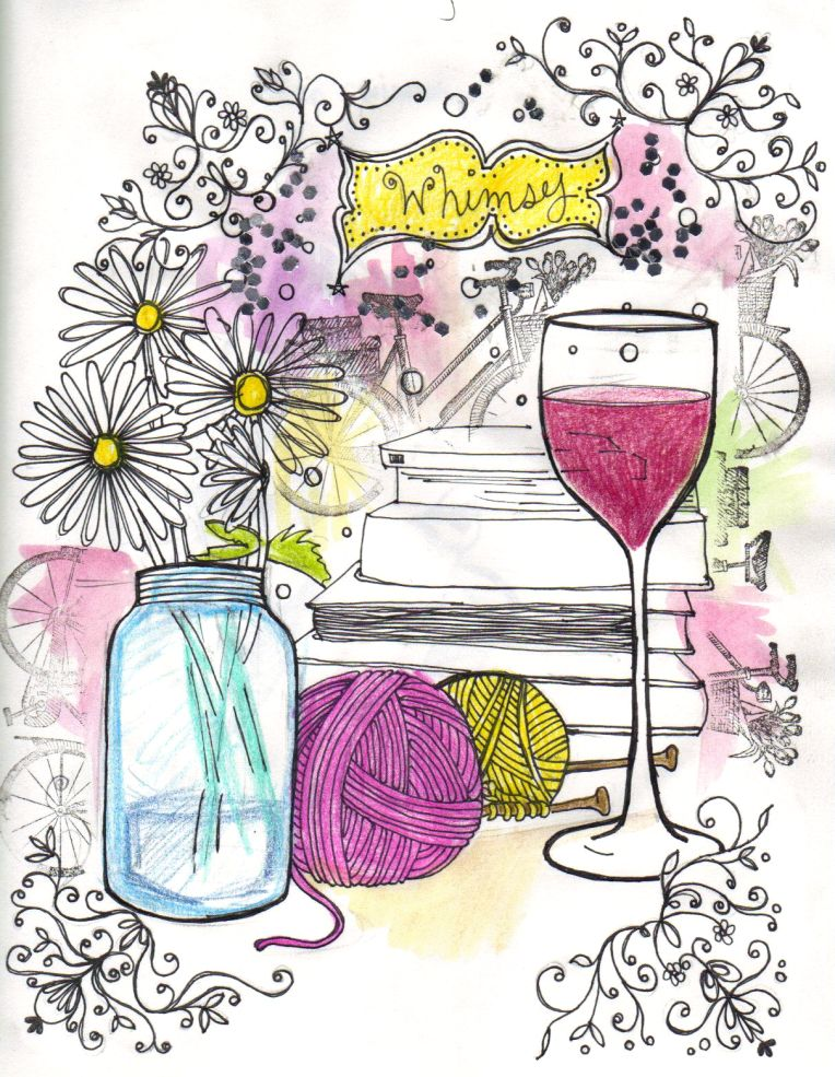 drawing stamping of whimsy, wine, daisies, books, yarn
