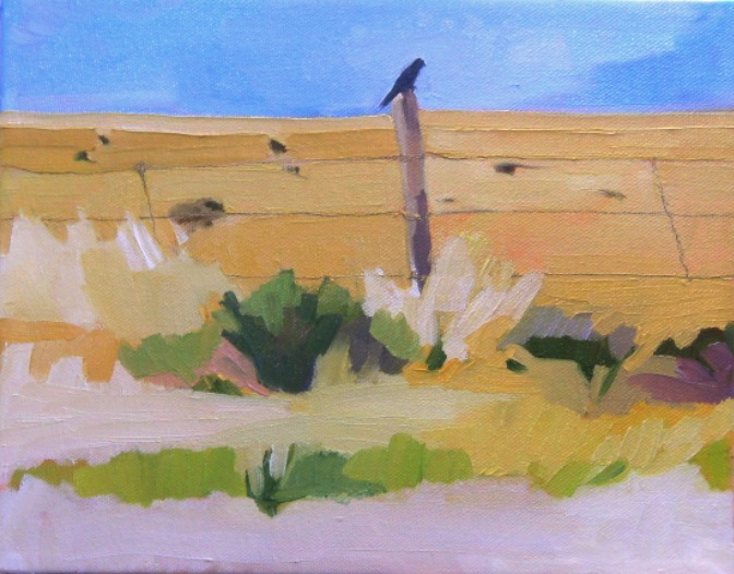oil painting of a bird on a fence post in the desert