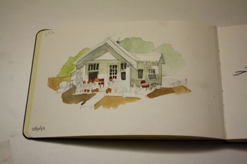 Pumpkins on the Porch, sketchbook