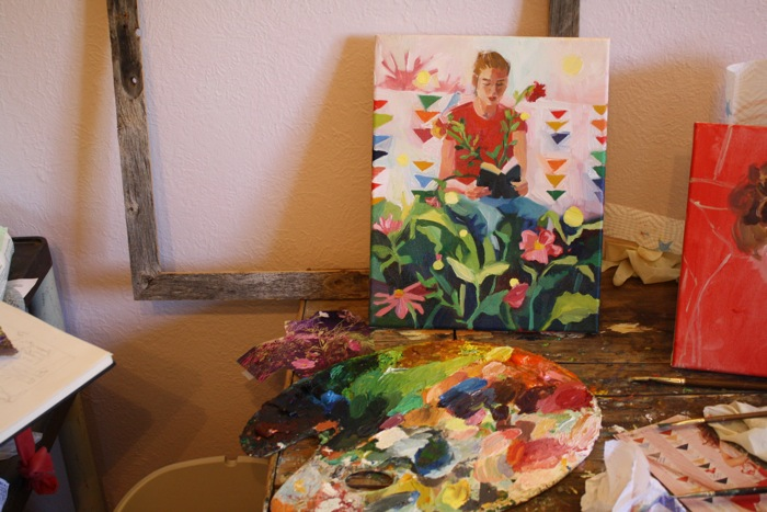 in the studio oil painting palette