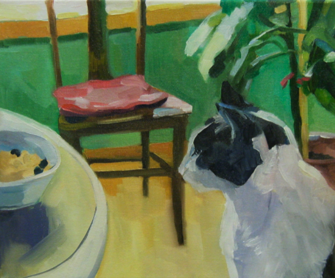 oil painting of cat and cereal bowl