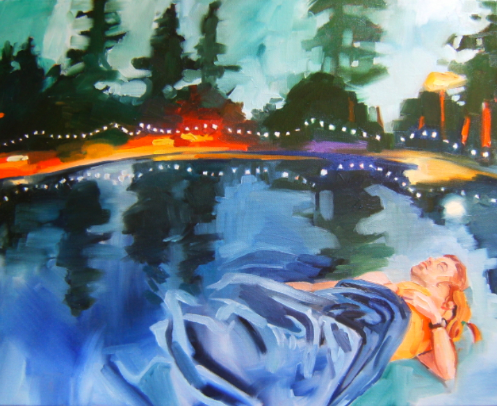 oil on canvas painting of people sleeping on a pond at night