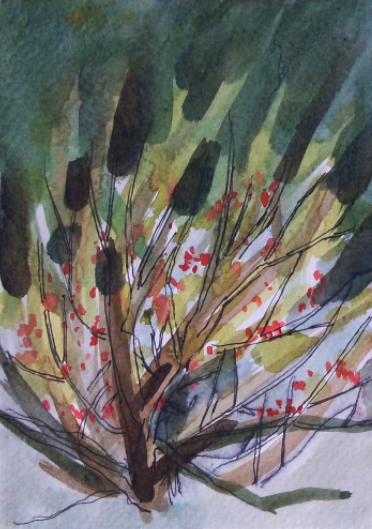 watercolour painting of tree