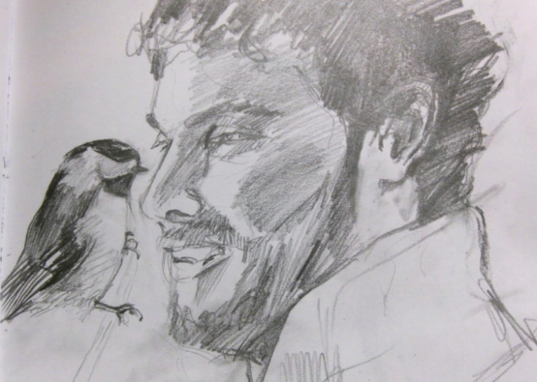 graphite drawing of man with black-capped chickadee