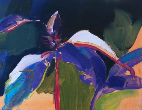 oil on masonite painting of purple basil
