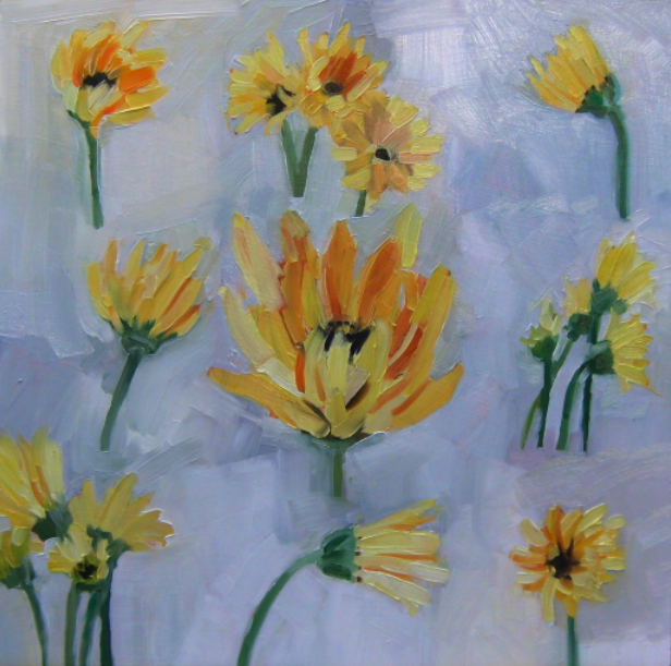 oil painting of gerbera daisies