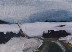 oil on masonite painting of a winter road, New Brunswick