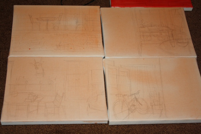 sketches on canvas in graphite