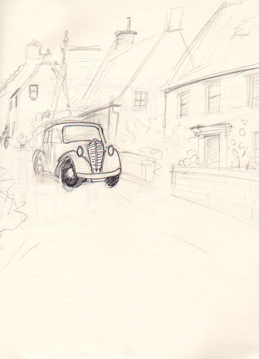 sketch of road in britain