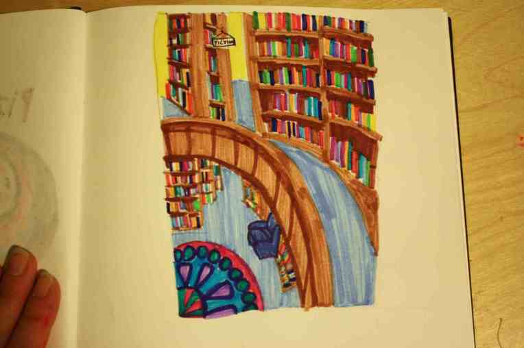 sketchbook drawing marker of library book store two story