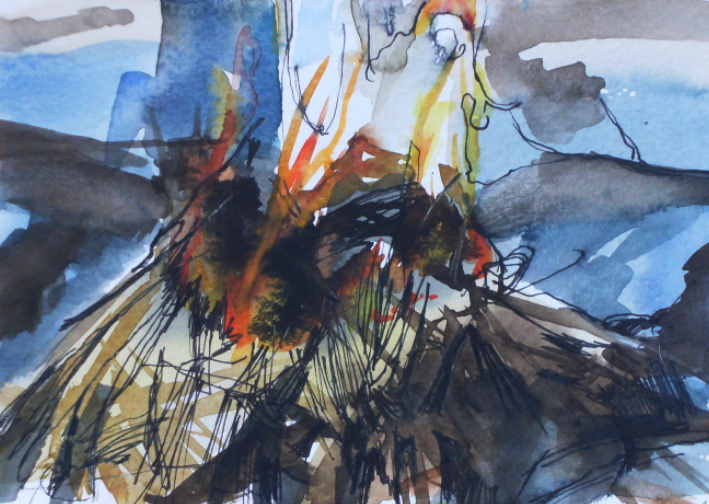 ink and watercolour painting of bonfire
