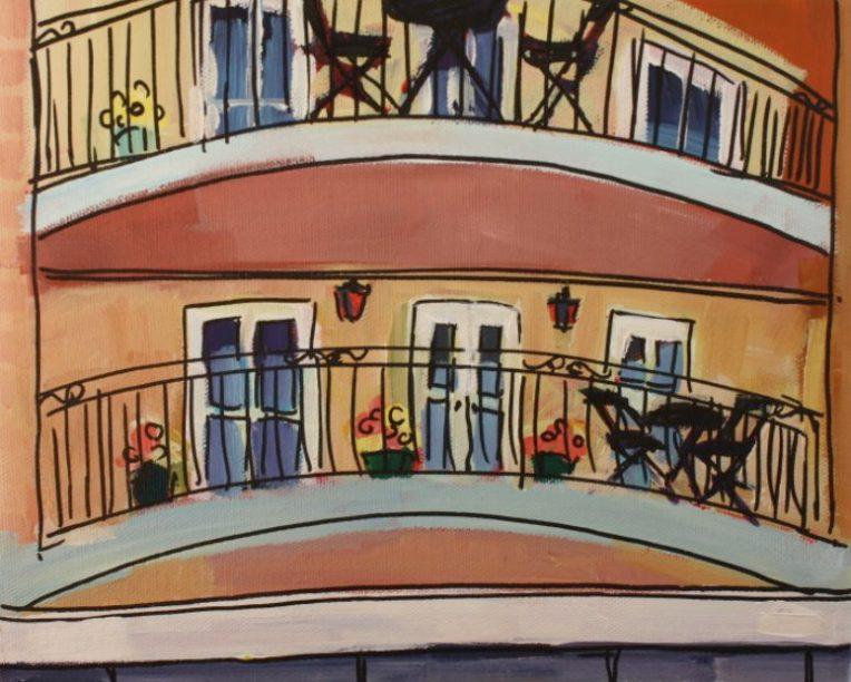 painting of balcony in bakewell