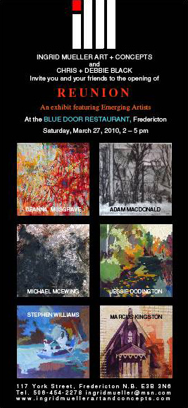 invitation to opening at the Blue Door in Fredericton