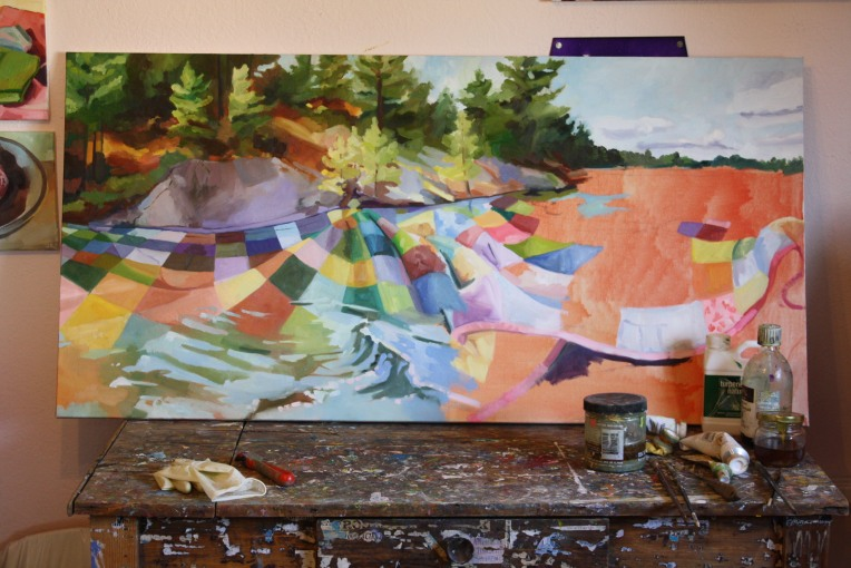 """Quilted Lake in Progress, oil/canvas, 24 x 42"""""""