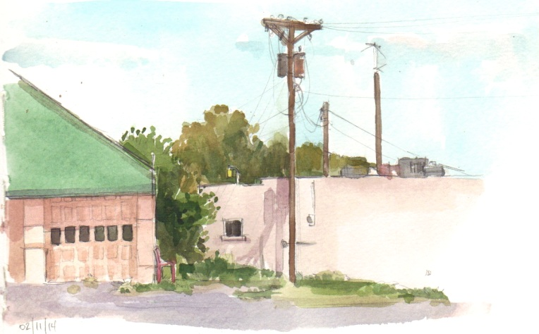Garage, watercolor and graphite on paper, 5 x 7""
