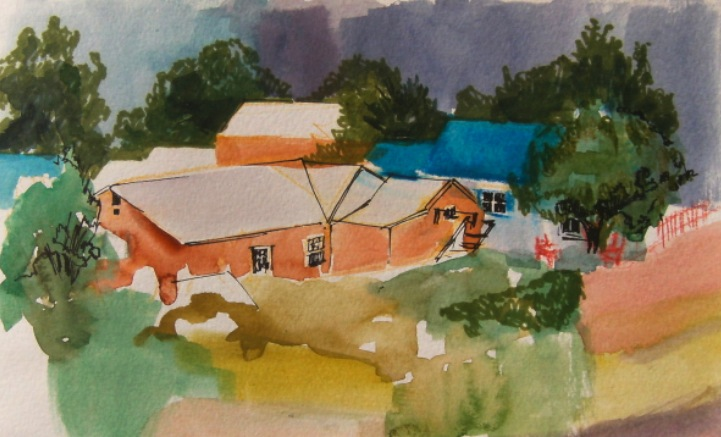 watercolour painting of houses from above, new mexico