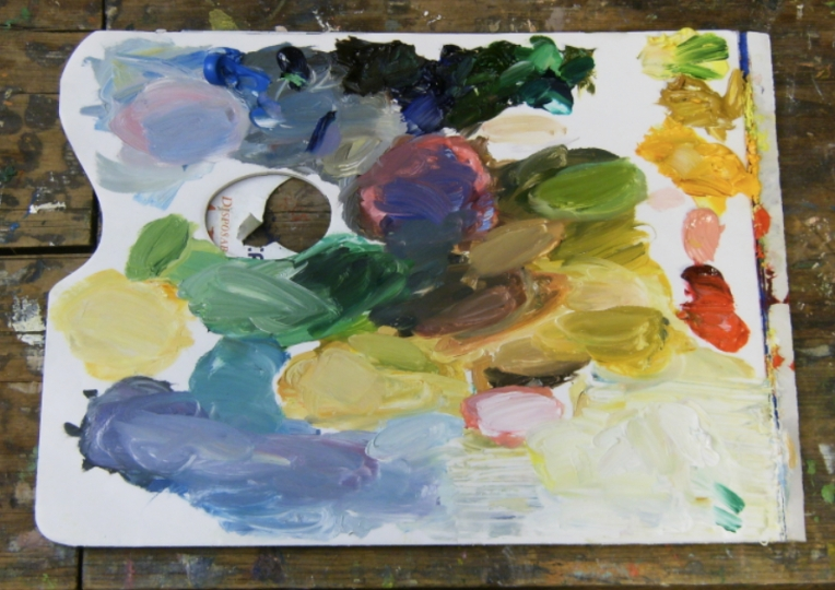 photo of oil paint on palette