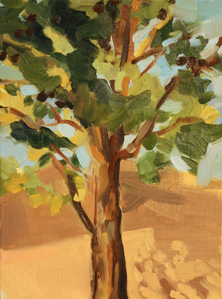 "Shading Adobe, Oil on Canvas Board, 6 x 8"", $50"