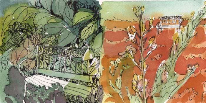 watercolour and ink drawing of bench in vegetation