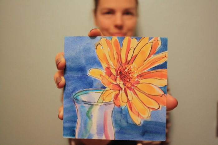 watercolor painting of gerbera daisy