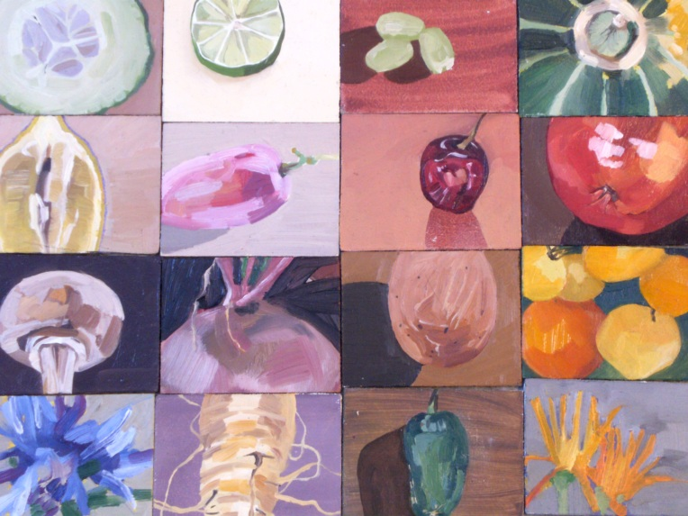oil painting of food on masonite boards