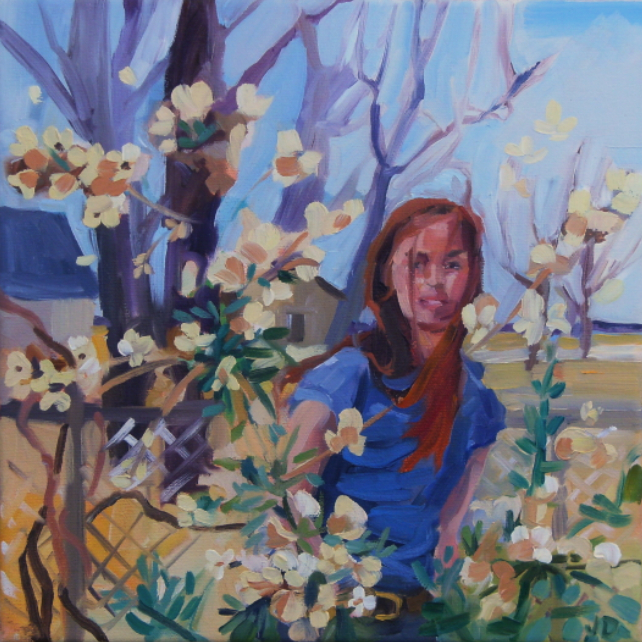 oil painting of woman behind flowering tree