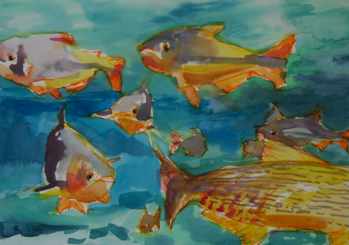 watercolour painting of fish