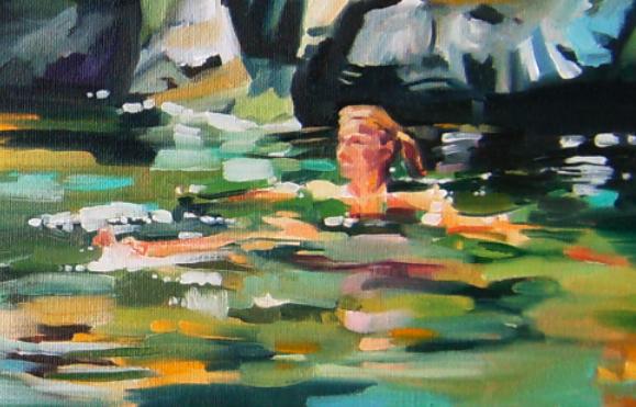 oil painting cape breton swimming