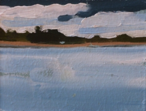 oil on masonite painting of lake and clouds, New Brunswick