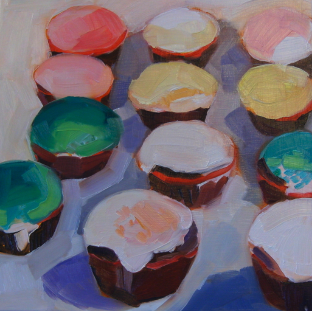 oil painting of cupcakes