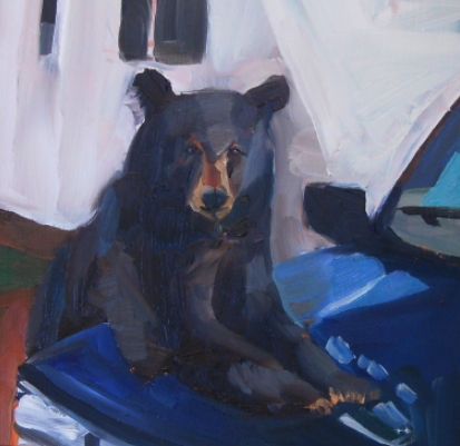oil painting of bear and truck