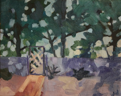 "Backyard Fence, oil/canvas, 8 x 10"""
