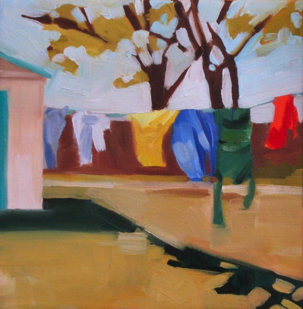 oil painting of laundry drying on line in yard