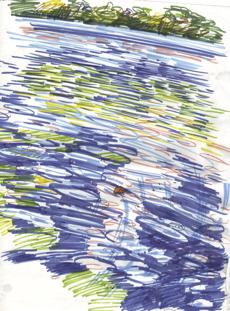 marker sketch of lake surface