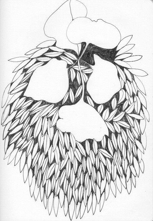 ink sketch of leaves