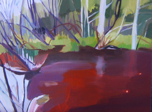 Oil on masonite painting of a bear hidden in swampy environment