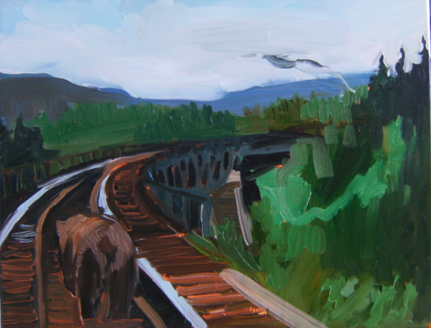 oil on masonite painting of a bear crossing the pic river trestle in norther ontario