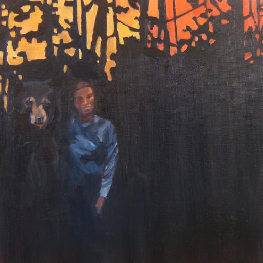 """Self Portrait, 10 x 10"""", oil on cavas"""