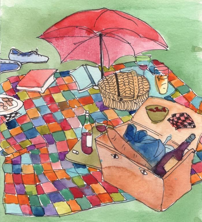 watercolour painting of a picnic
