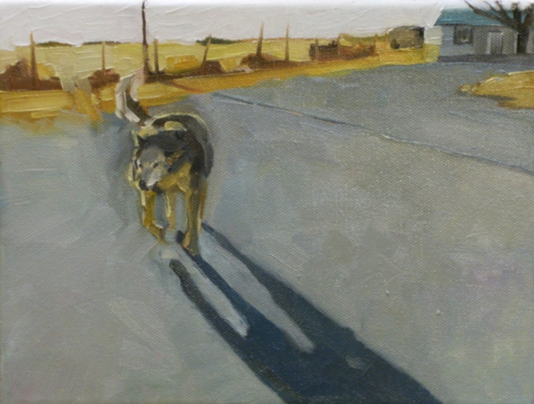 oil painting of dog in driveway casting shadow