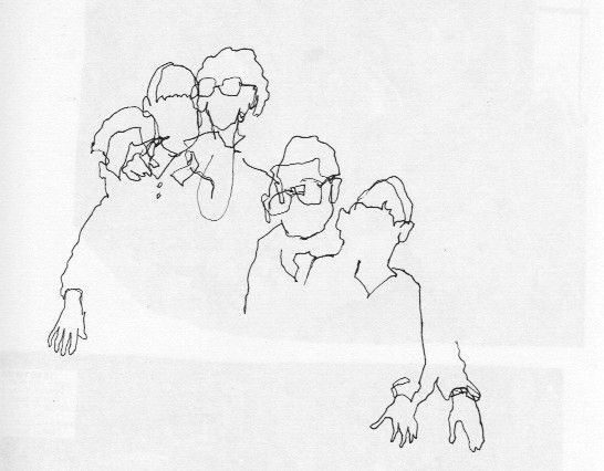 ink drawing blind contour with grandparents