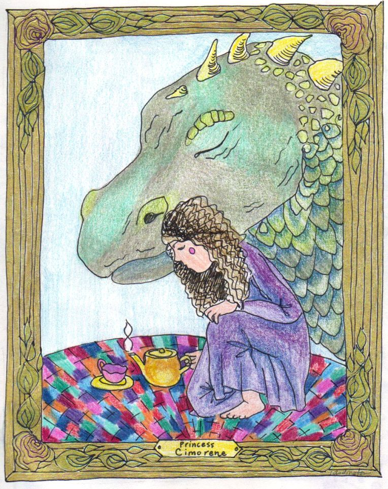 ink and pencil crayon drawing of princess cimorene of dealing with dragons book