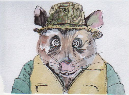 ink and watercolor drawing of weasel from fantastic mr. fox