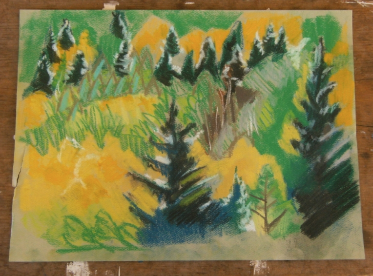 pastel drawing of an autumn forest