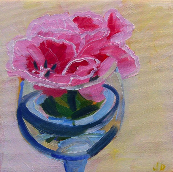 oil painting of flowers in wine glass