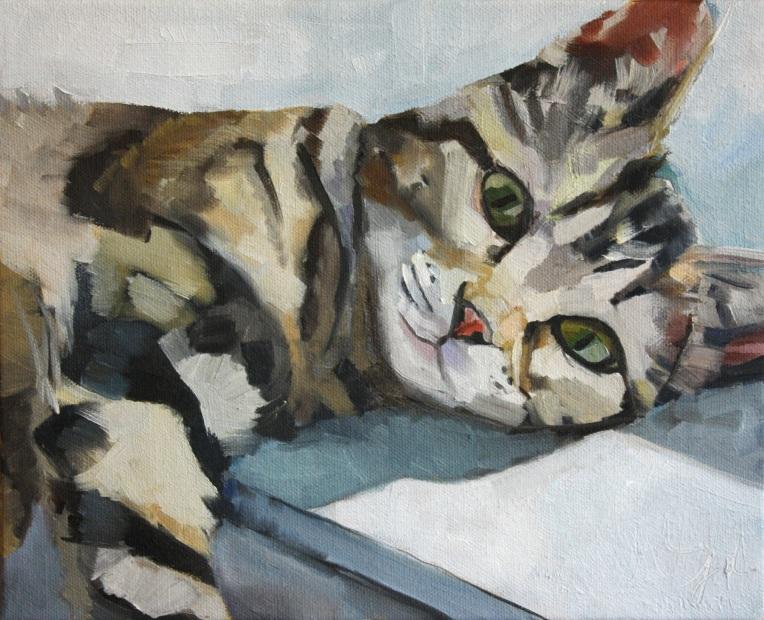 """Doug on the Window Ledge, oil on canvas, 8 x 10"""""""