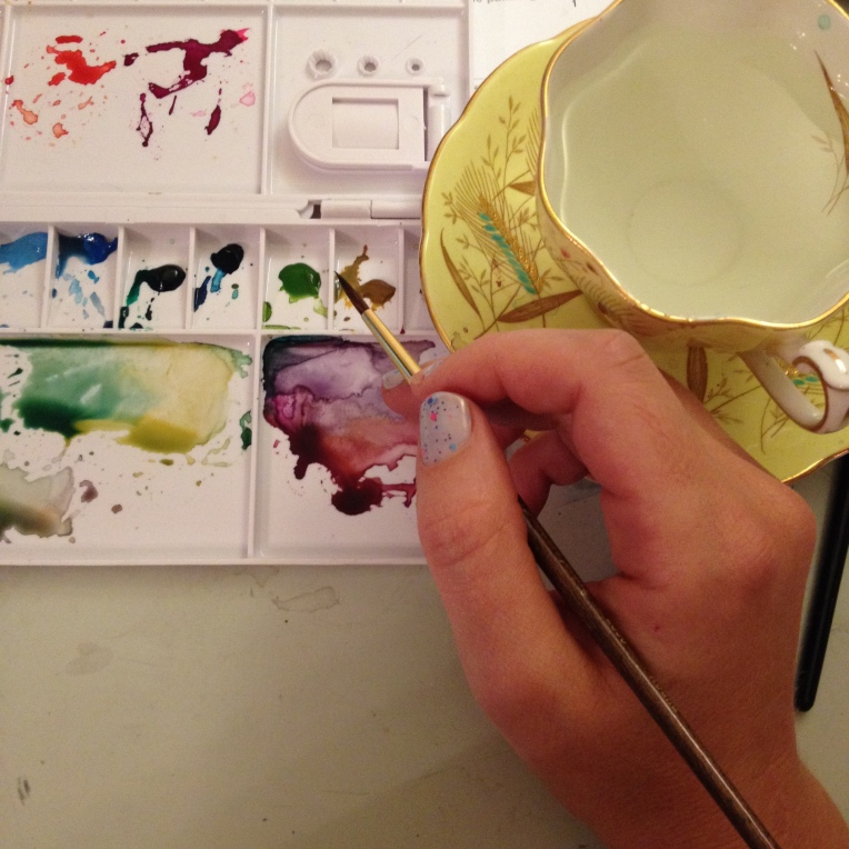 Palette and watercolor tea cup