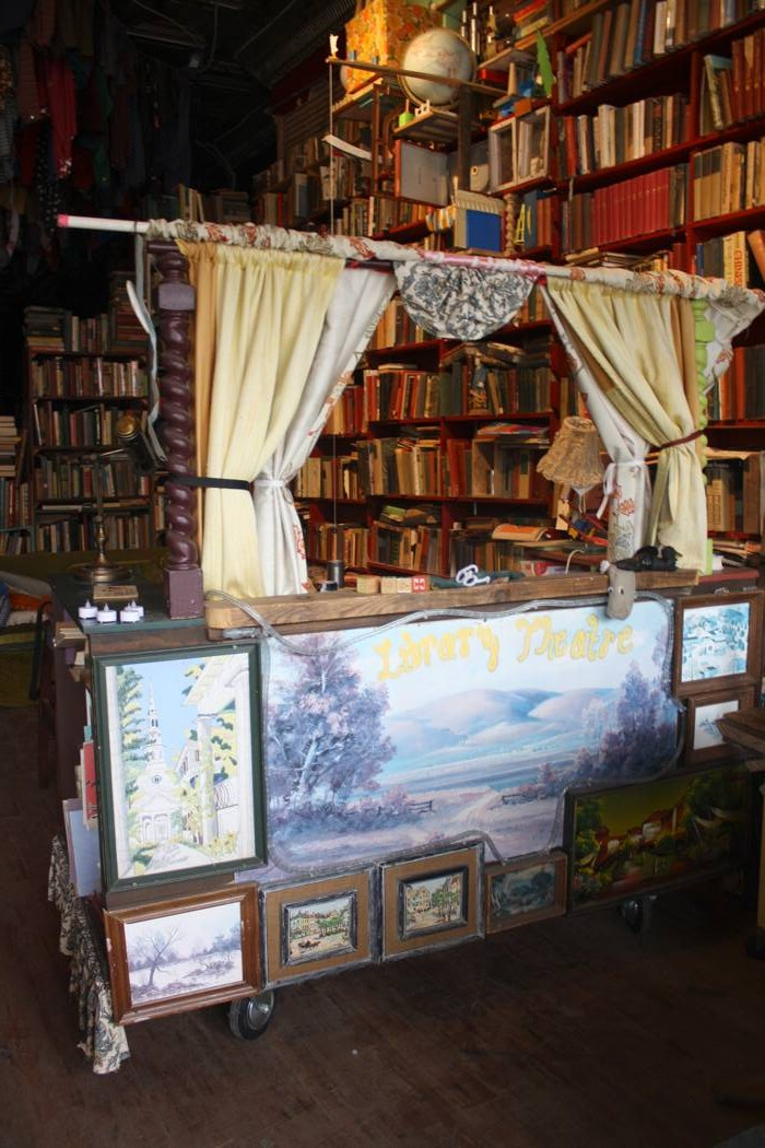 photo of library cart at elsewhere cooperative