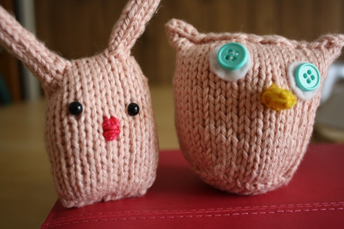 knitted owl and bunny